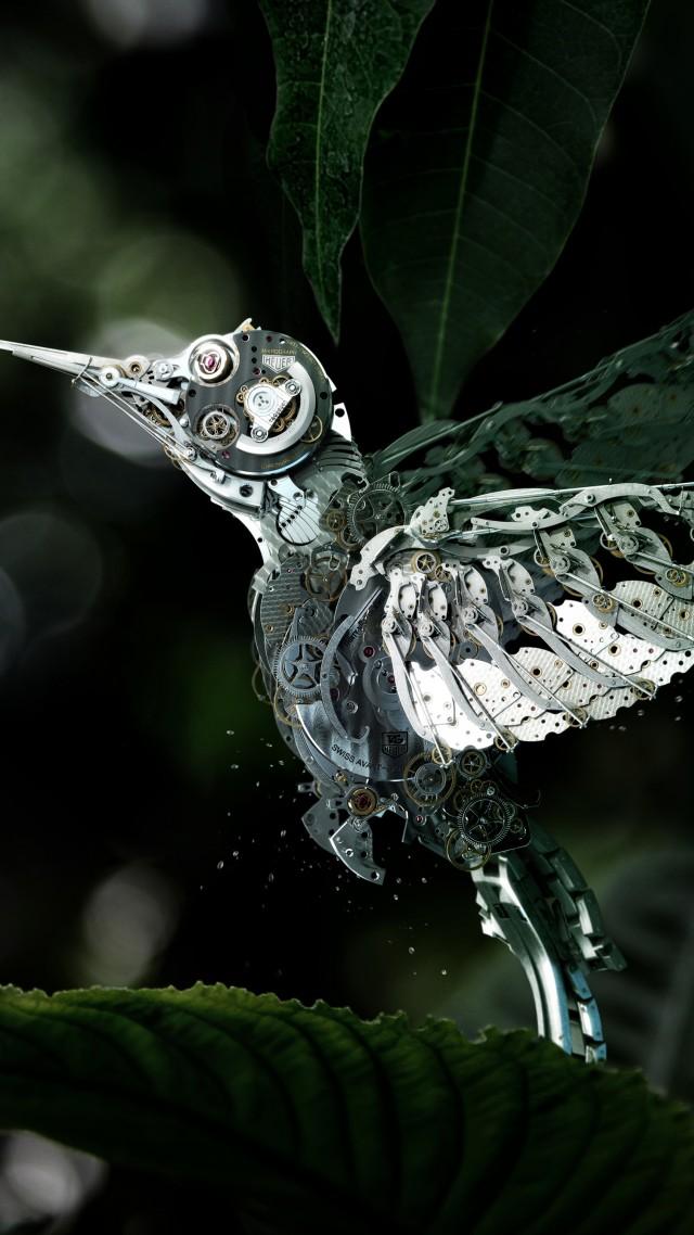 Wallpaper Hummingbird Olibri Steampunk Flower Leaves