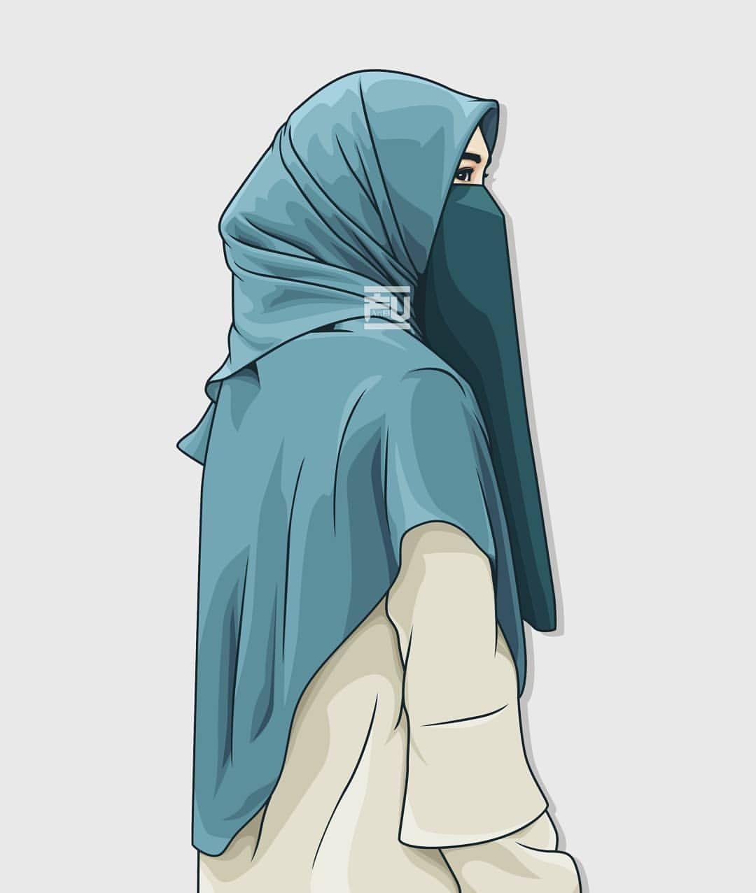 Turkey has condemned a charlie hebdo cartoon showing its president recep tayyip erdogan in underpants lifting up a woman's hijab. Wallpaper Muslimah Hijab Cartoon Niqab Girl 1080x1277 Download Hd Wallpaper Wallpapertip