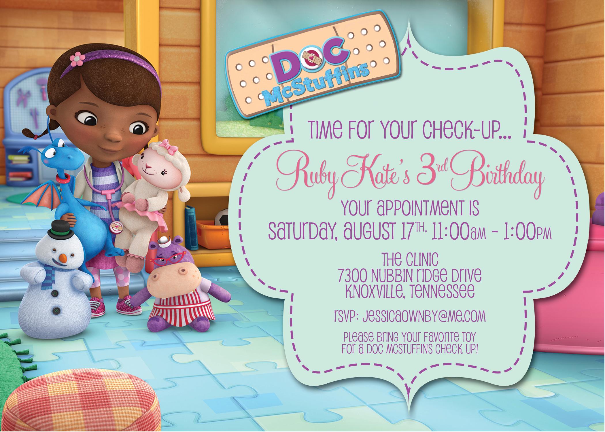 doc mcstuffins birthday invite