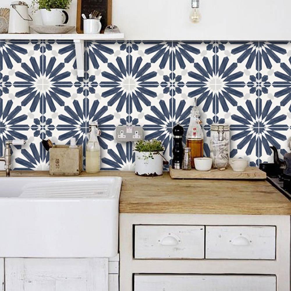faux tile wallpaper backsplash