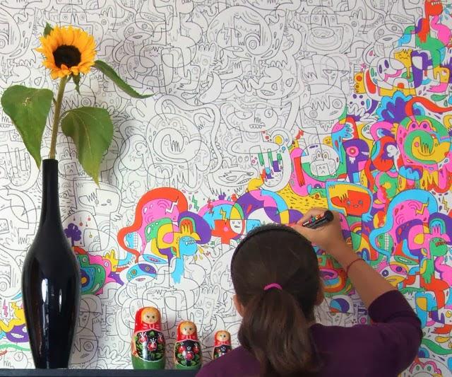 Guida pratica su come colorare pavimenti cementizi interni. Muro Da Colorare Per Bambini Carta Da Parati Interativo 640x533 Wallpapertip