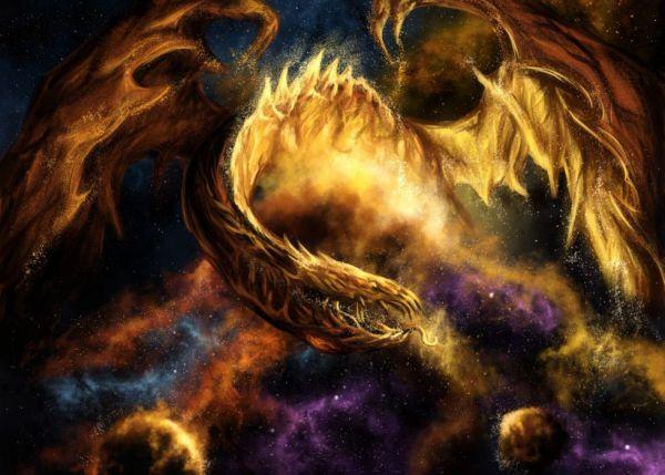 Fantasy dragon fire sci fi space nebula stars art ...