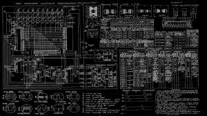 Diagram Blueprint BW Russian Schematic wallpaper