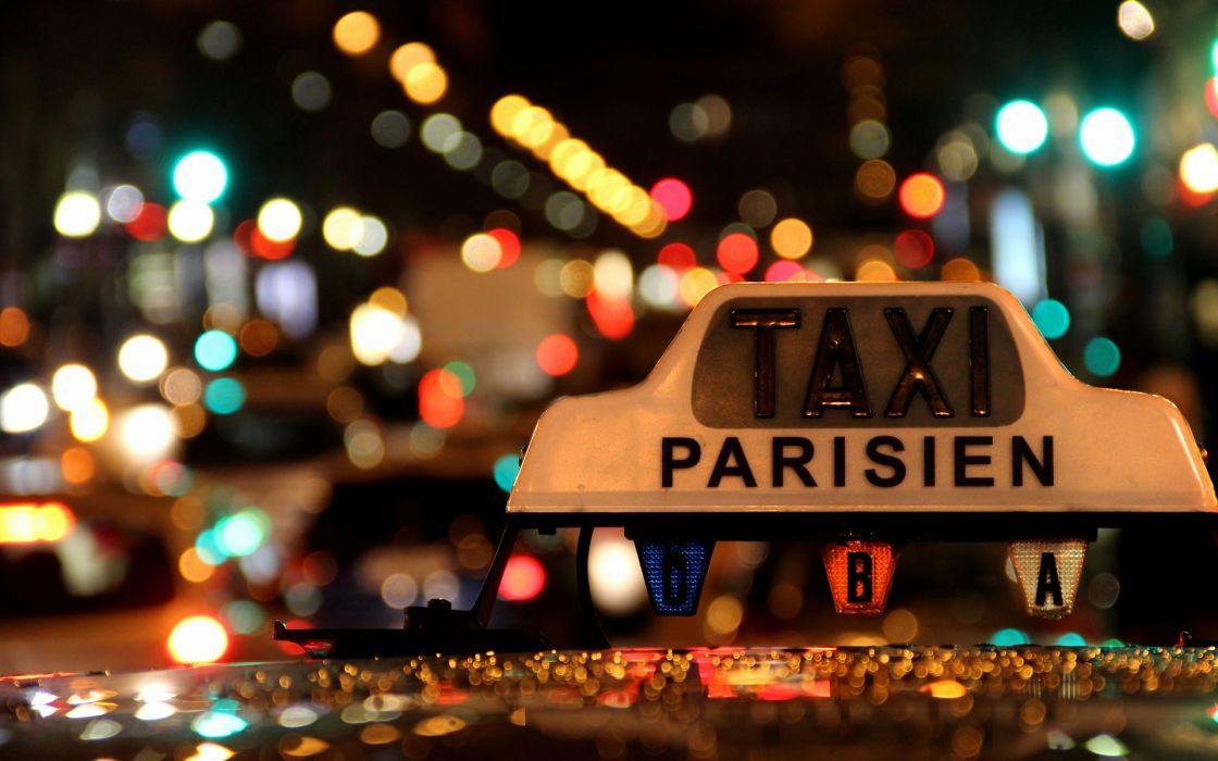 Bokeh Taxi Lights Night Roads Traffic Macro Close Sign