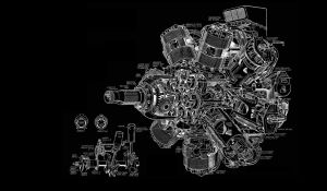 Engine Diagram BW Black aircraft airplane wallpaper