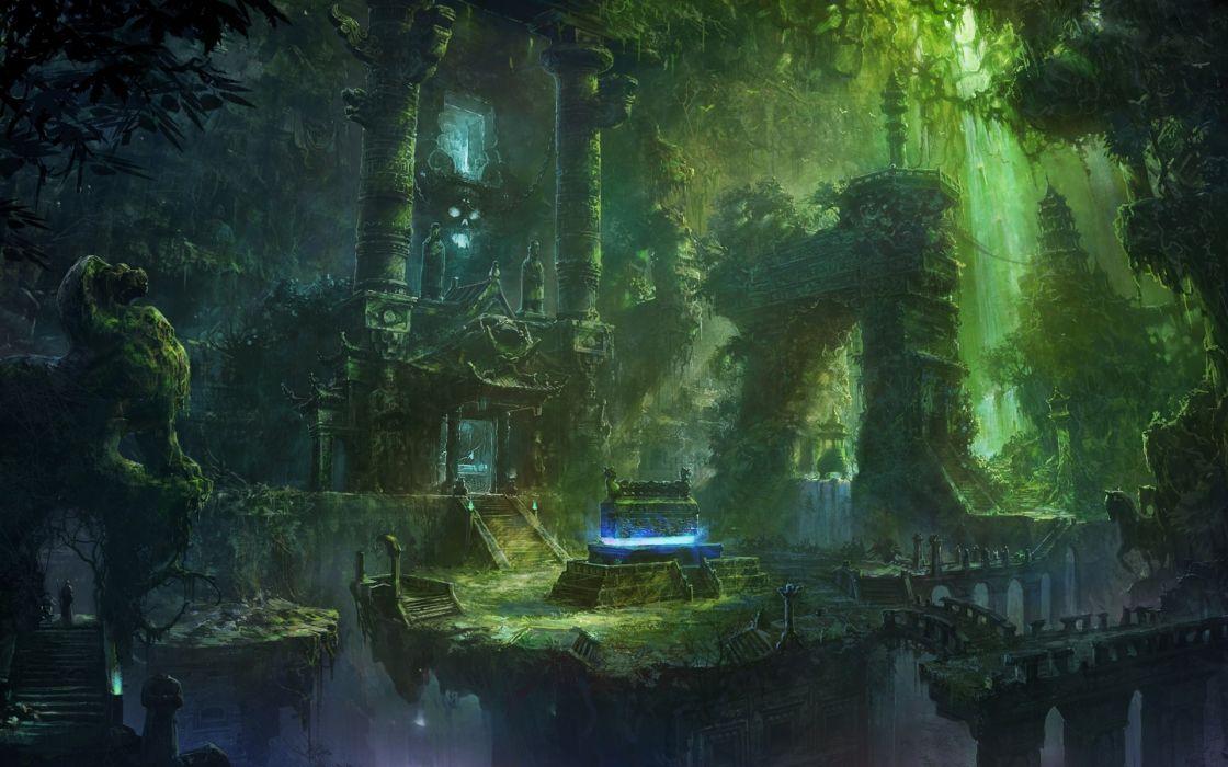 Fantasy Forest Ruins Buildings Jungles Wallpaper 1920x1200 48540 WallpaperUP