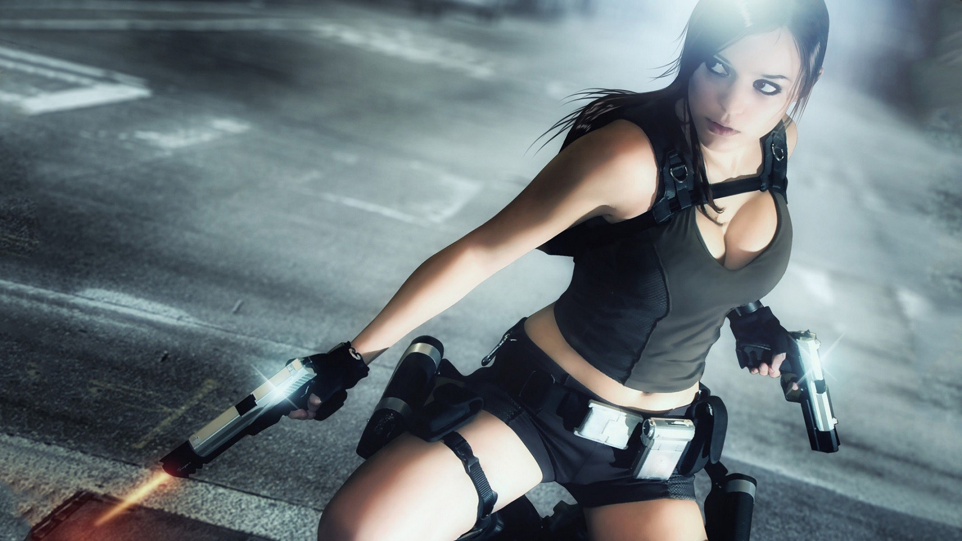 Lara Croft Tomb Raider Cosplay Handgun Brunette Cleavage