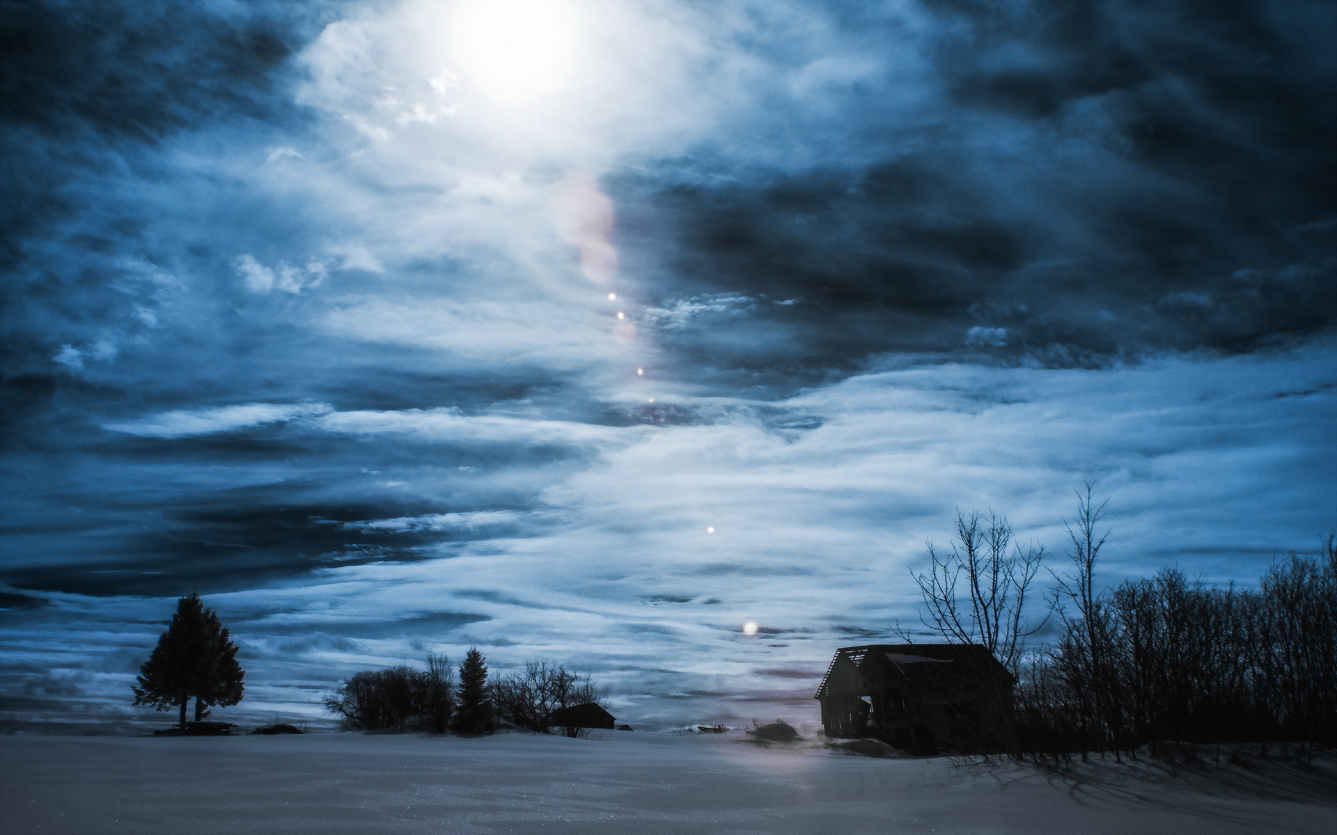 Night Winter House Landscape Clouds Sky Wallpaper