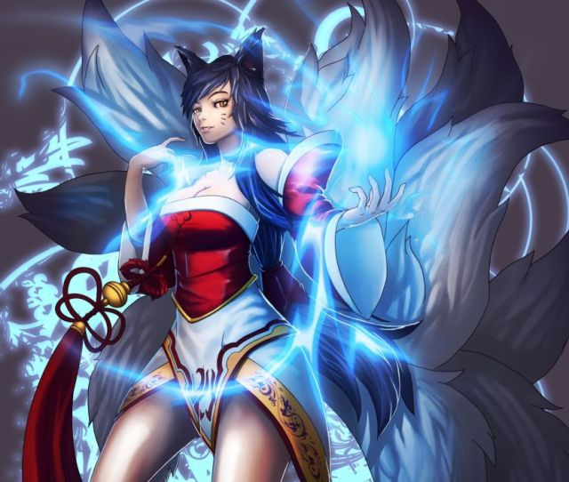 League Of Legends Ahri Magic Tail Game Girl Fantasy Wallpaper