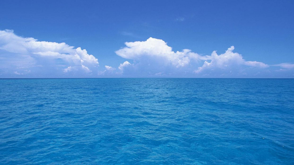 Blue Ocean Clouds Skylines Sea Wallpaper 1920x1080