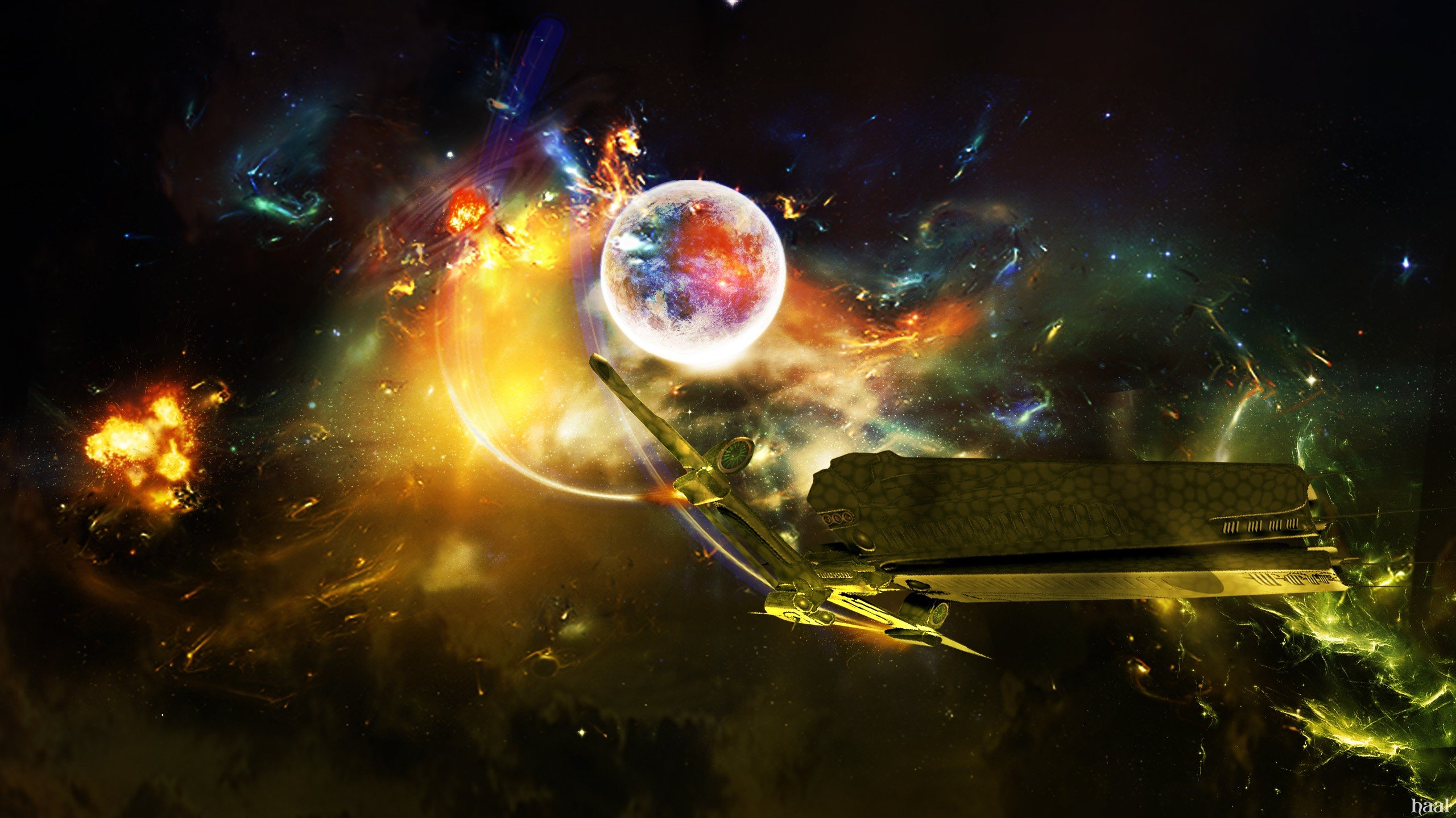 Outer Space Science Fiction Photo Manipulation Wallpaper