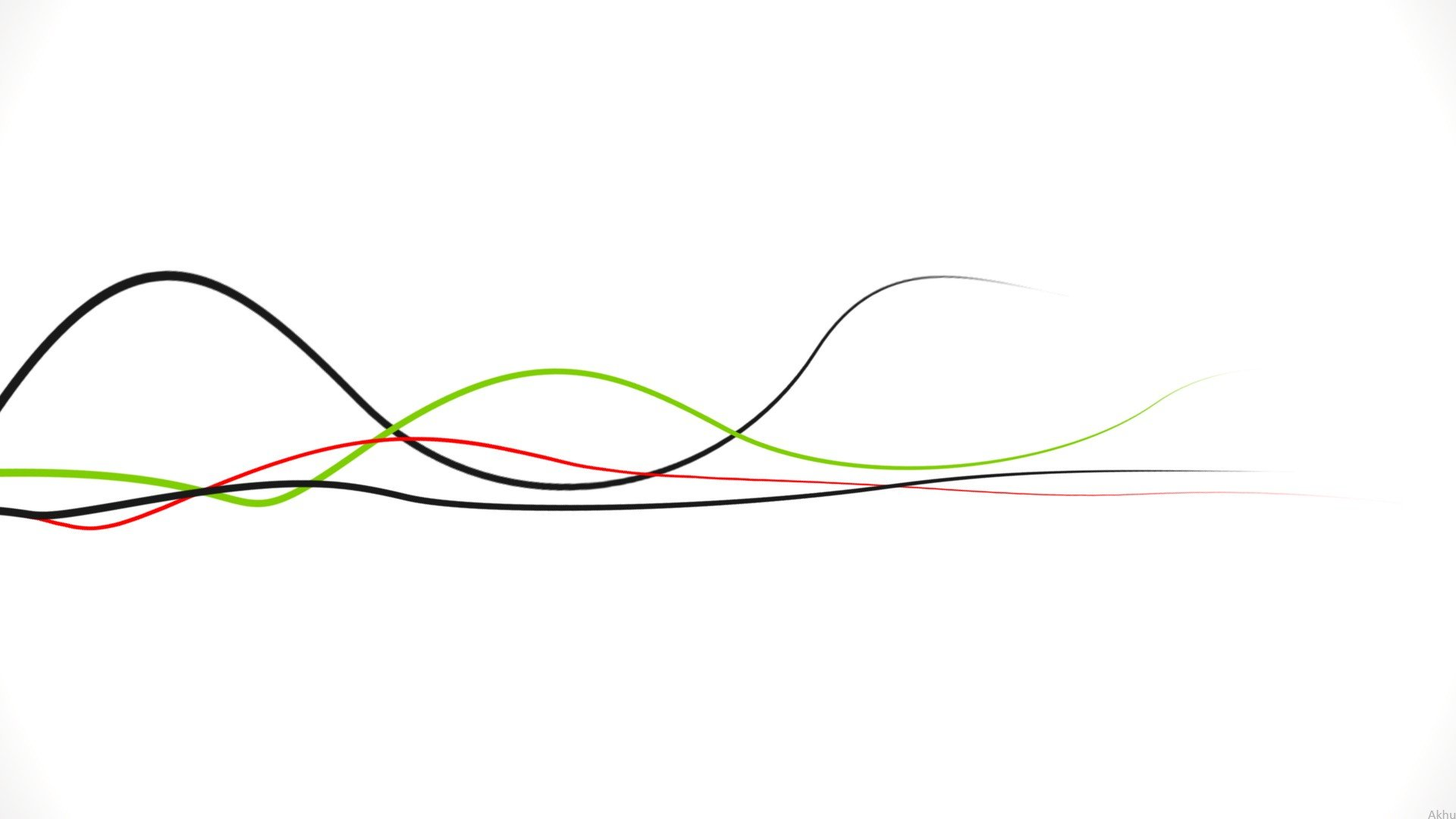 Green Abstract Red White Waves Lines Pure Pure Simple