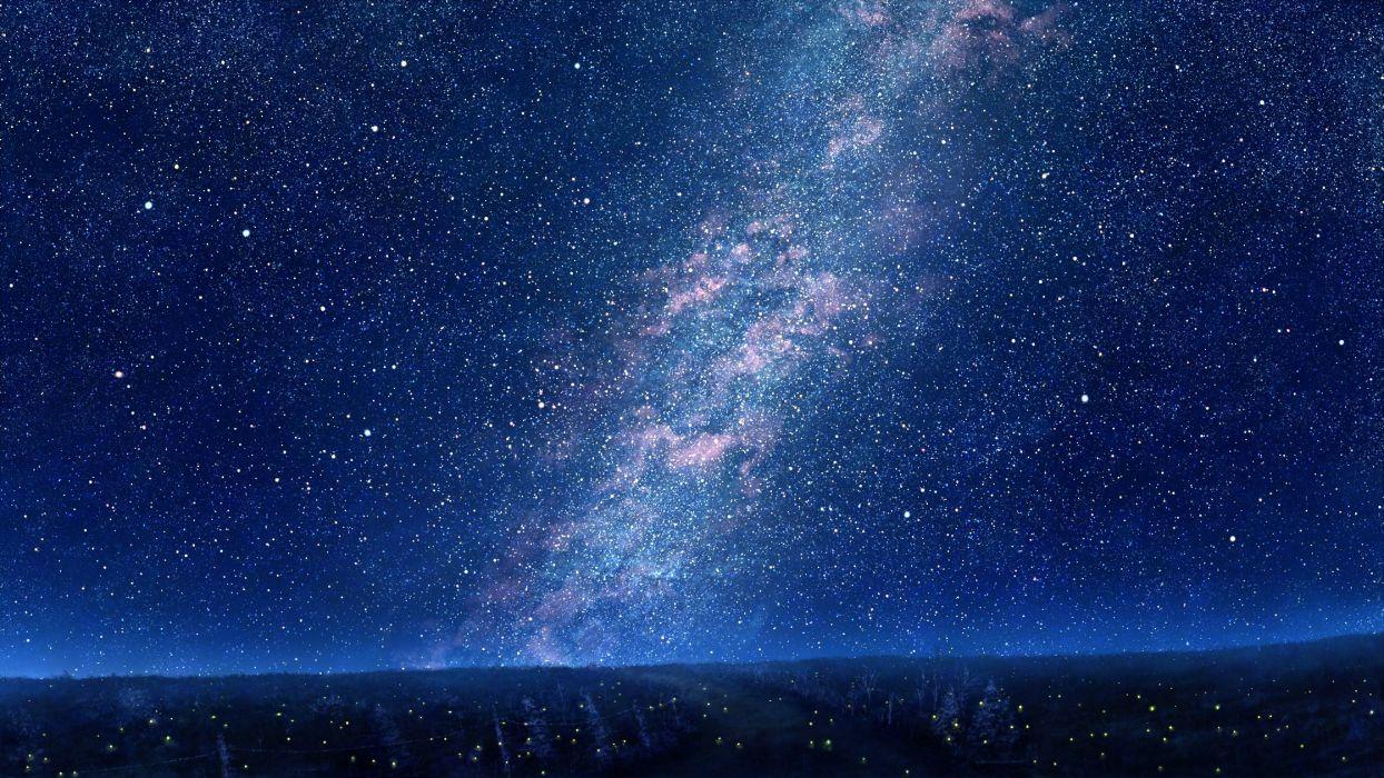 Sky Mks Trees Night Stars Art Wallpaper 2240x1260