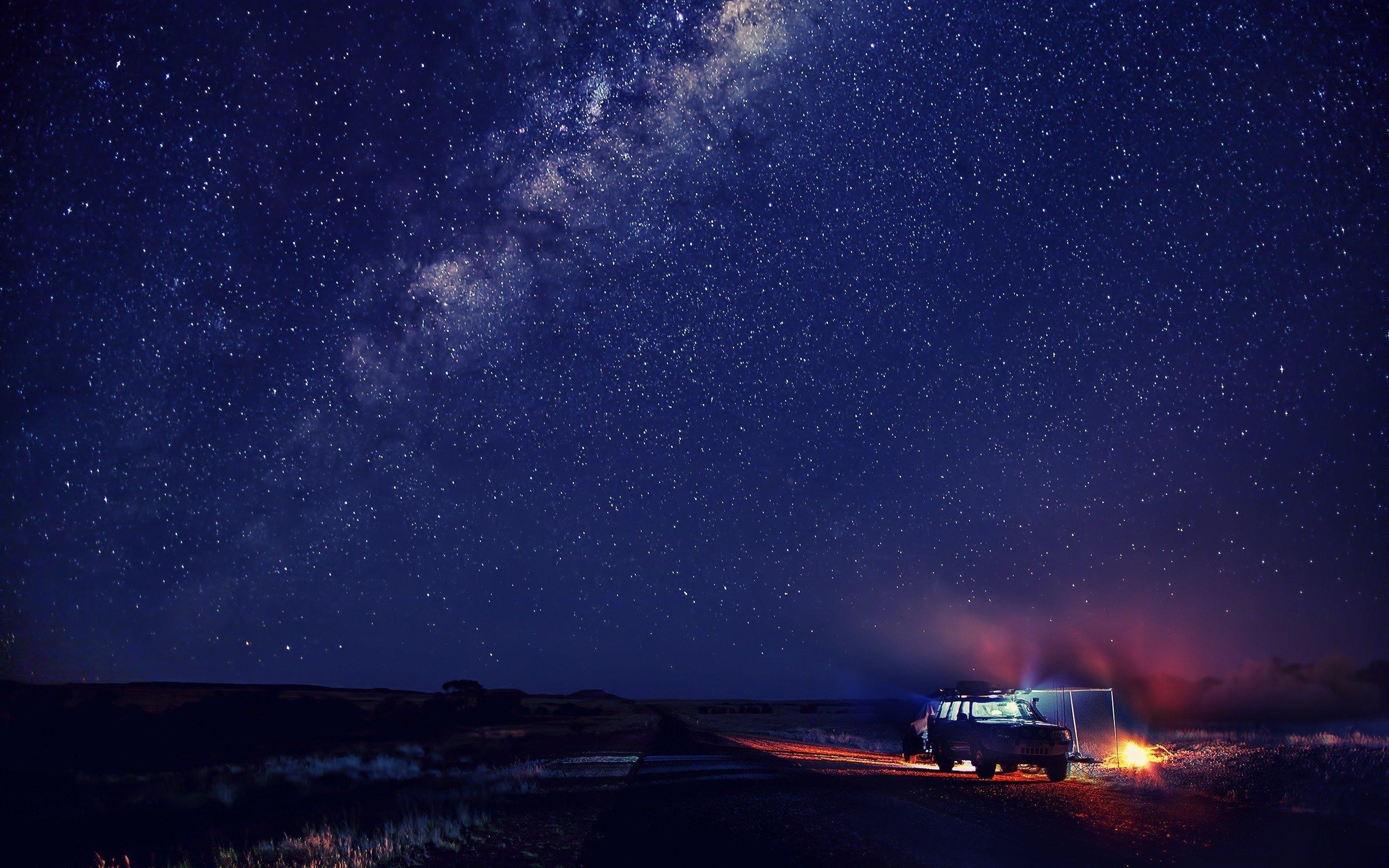 Snow Sky Winter Car Night Stars Mood Space Wallpaper