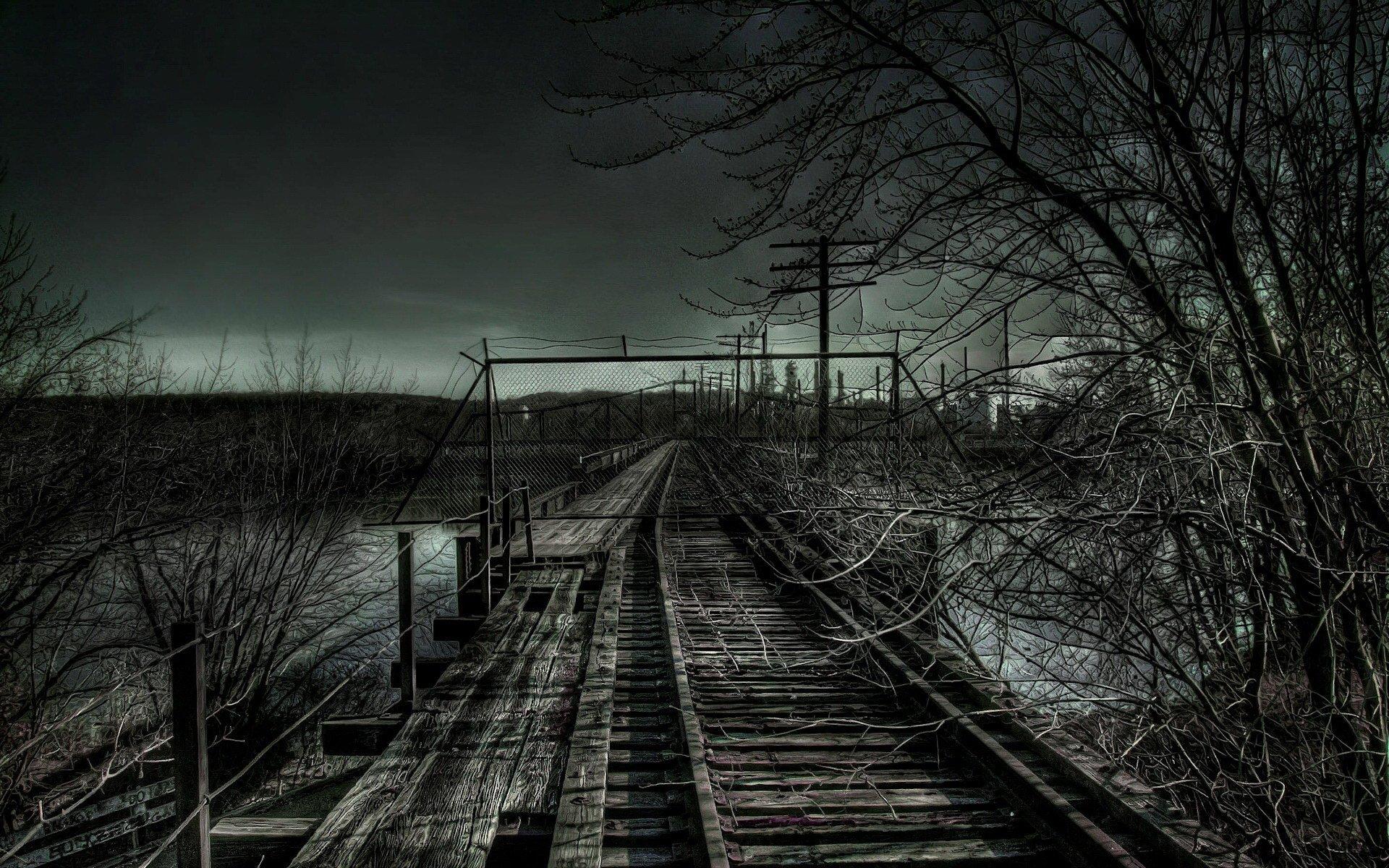 dark night railroad tracks hdr photography wallpaper | 1920x1200