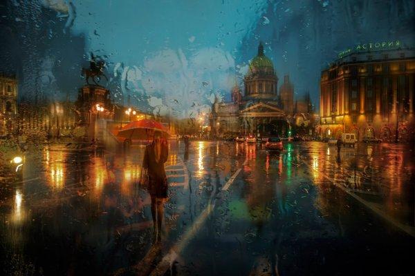 St petersburg isaakievskaa area rain russia storm mood art