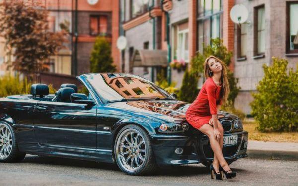 Heels model dress sexy woman legs skirt girl BMW car pose