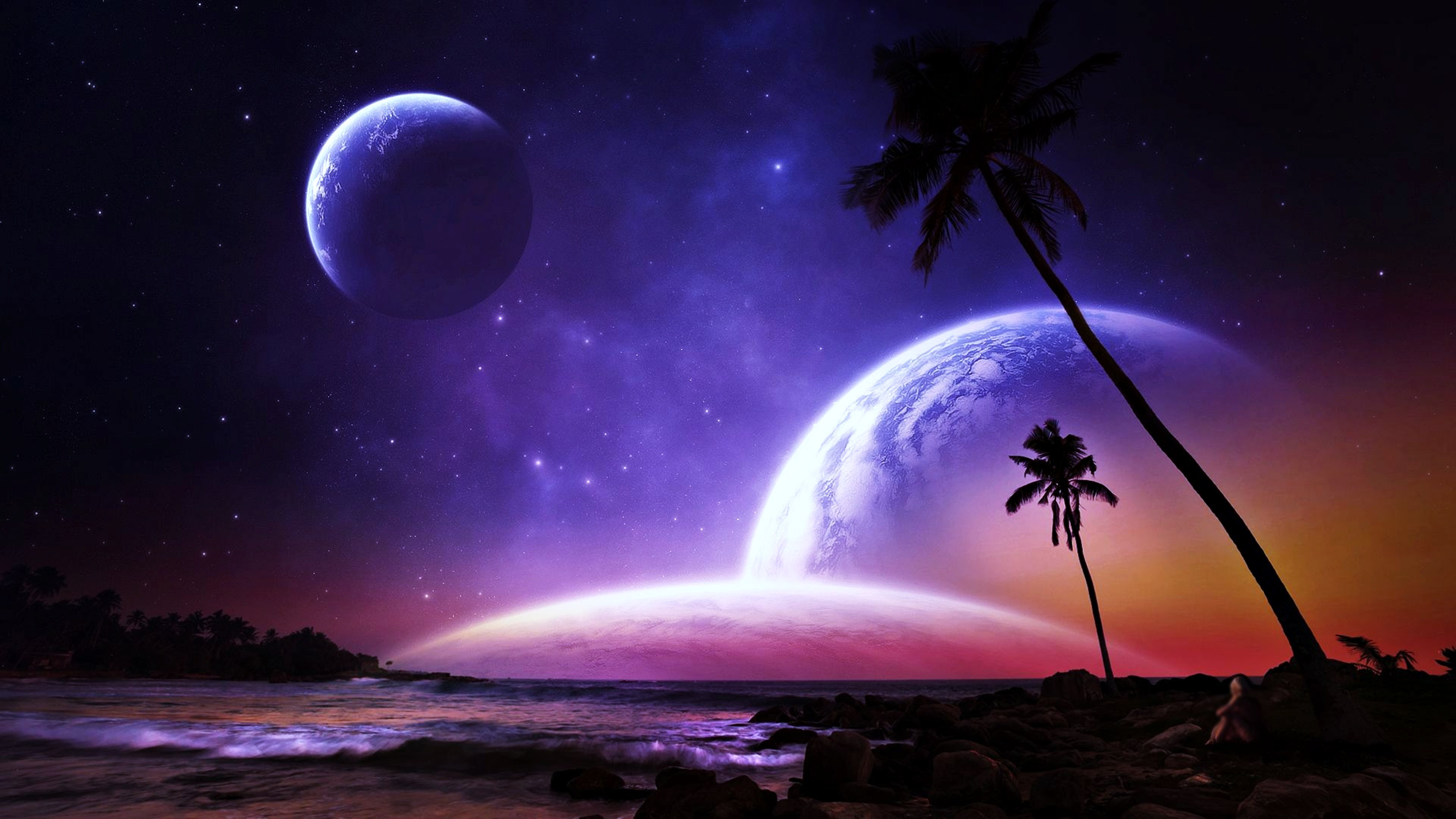 planets palms fantasy dreams colorful beaches space stars galaxy