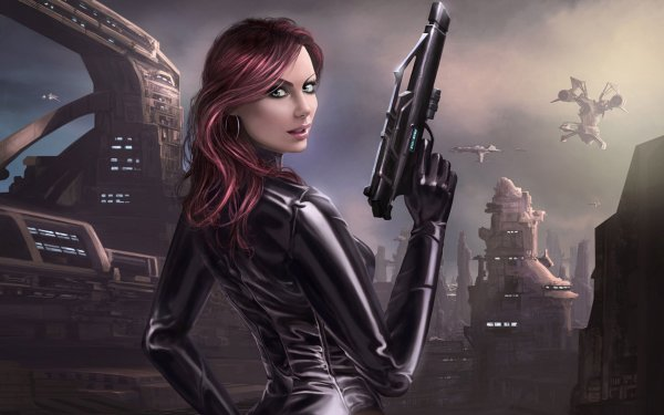 Scifi women warrior woman girl girls futuristic artwork