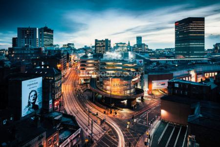 Manchester Skyline Night Wall Mural | Wallsauce US