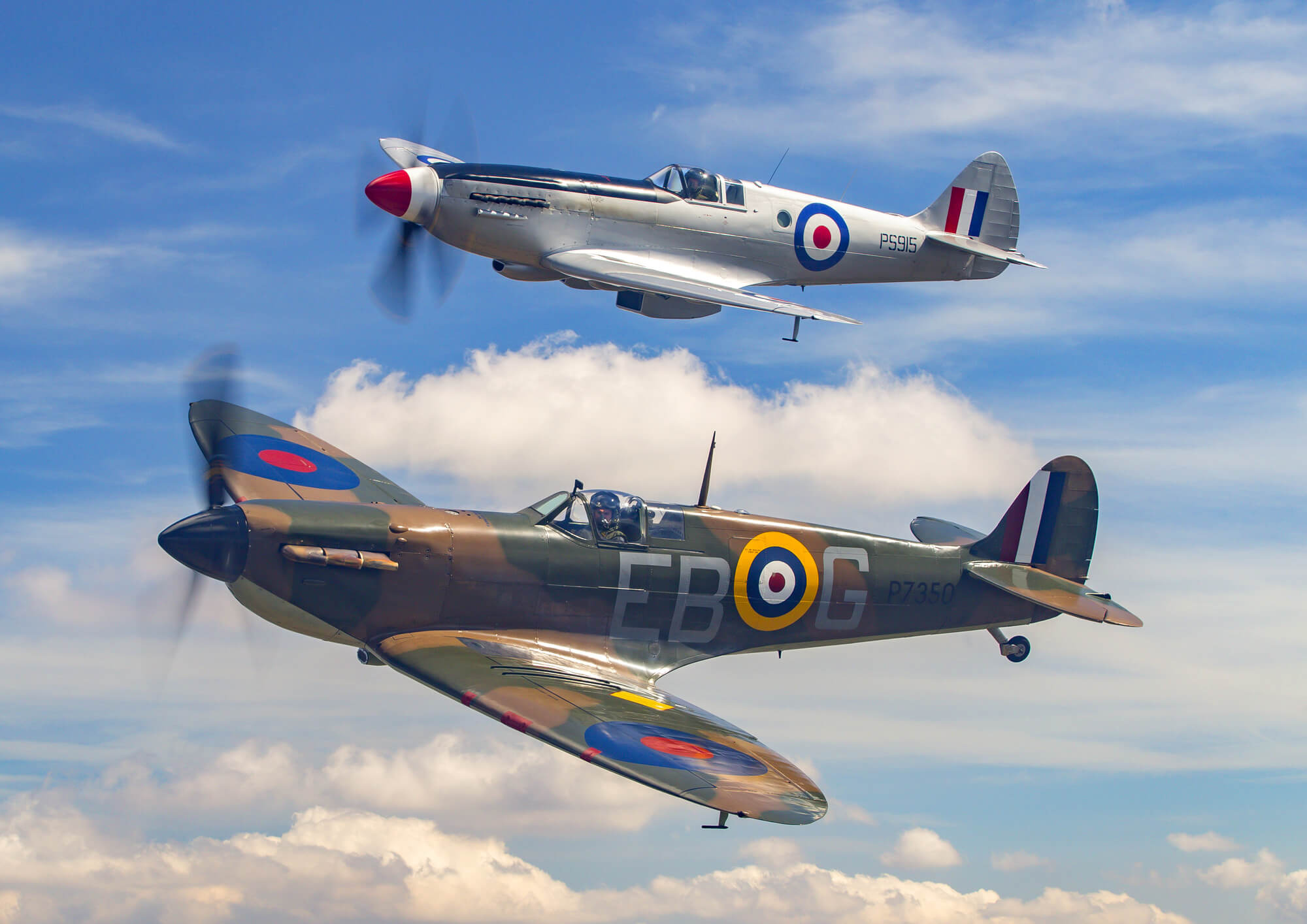 Supermarine Spitfire Pair In Clouds Wall Mural Wallsauce AU