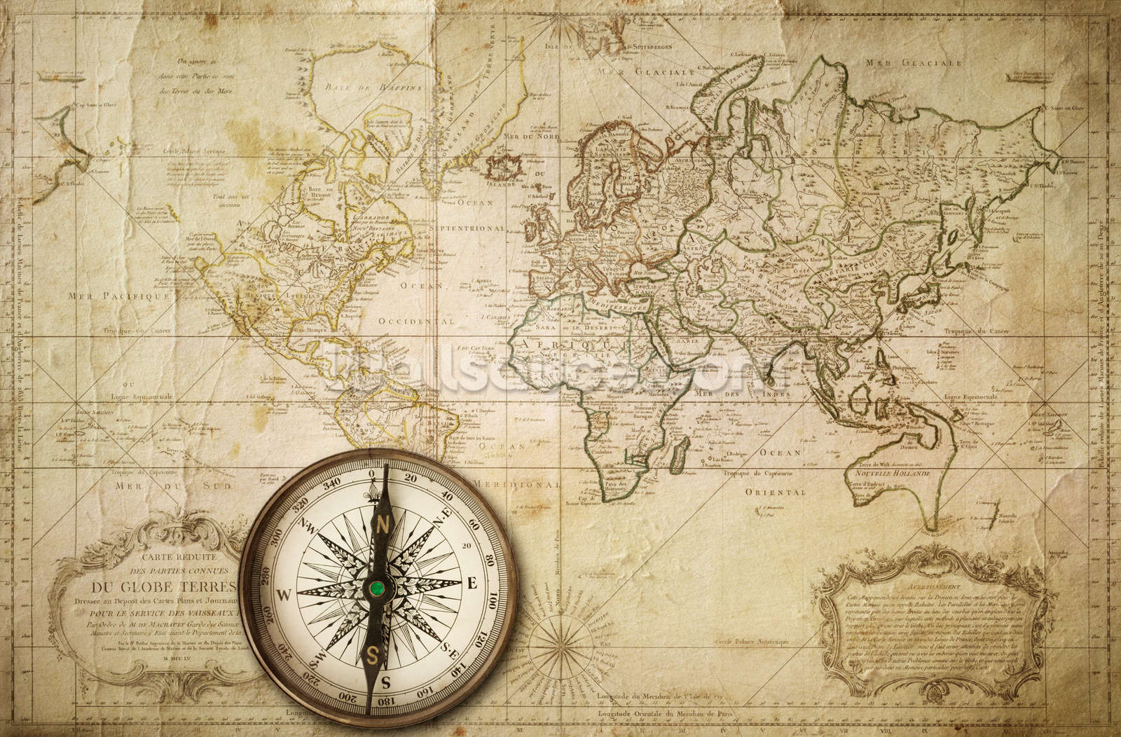 Old Map Amp Compass Wallpaper Mural
