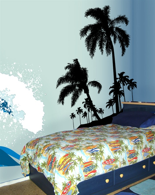 Surfs Up Beach Palms Wall Decal Sticker