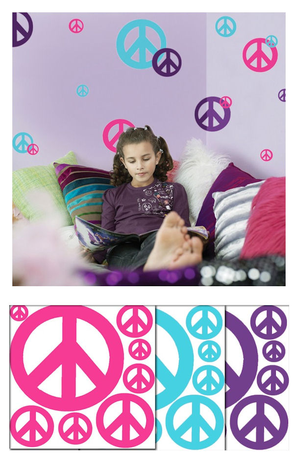 Personalized Zebra Stripe Peace Sign Decorations Paper Removal Wall Sticker S For Kids Room Factory Directly