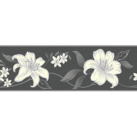Alana Black And Silver Peel And Stick Wall Border