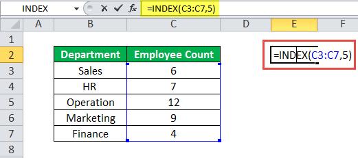 ИНДЕКС Пример функции 1