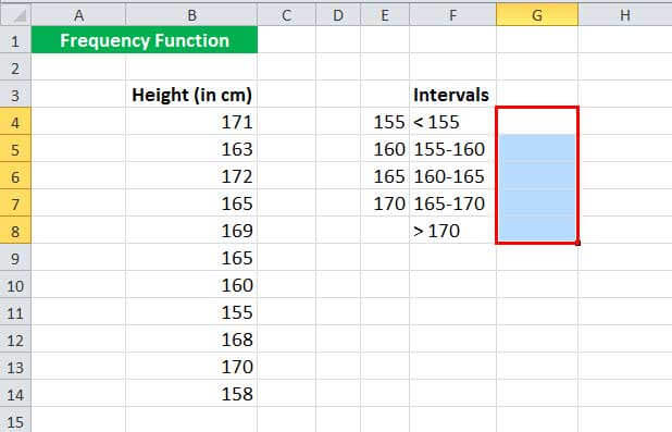 Пример функции FREQUENCy 1-1