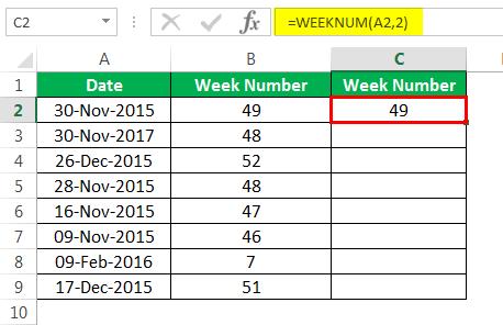 Пример номера недели 1-7