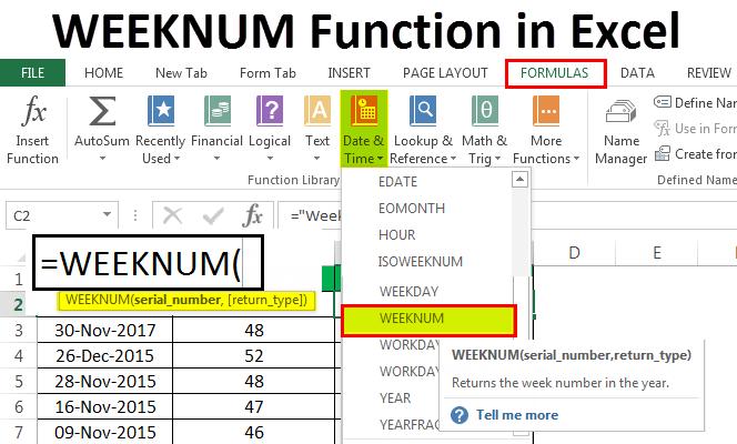 WEEKNUM Функция в Excel