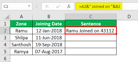 Объединение строк в Excel, пример 4.5