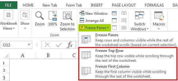 Заморозить ячейки в Excel Ex. 1.4