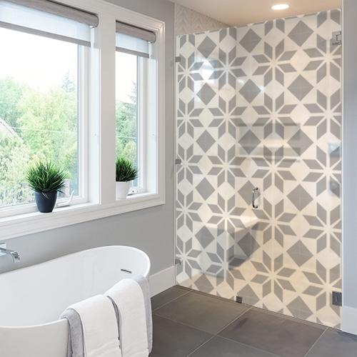 stickers autocollants pour douche carrelage carre salle de bain