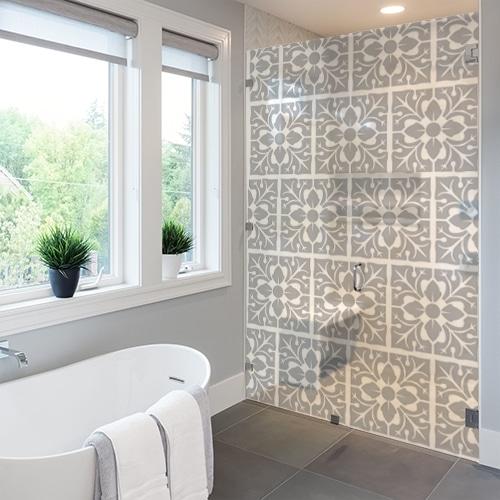 stickers autocollants pour vitre de douche grand carrelage feuille