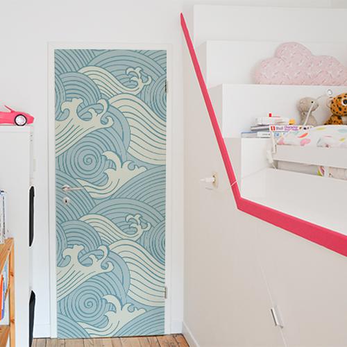 adhesif decoratif pour portes et placards vagues d asie bleues et blanches