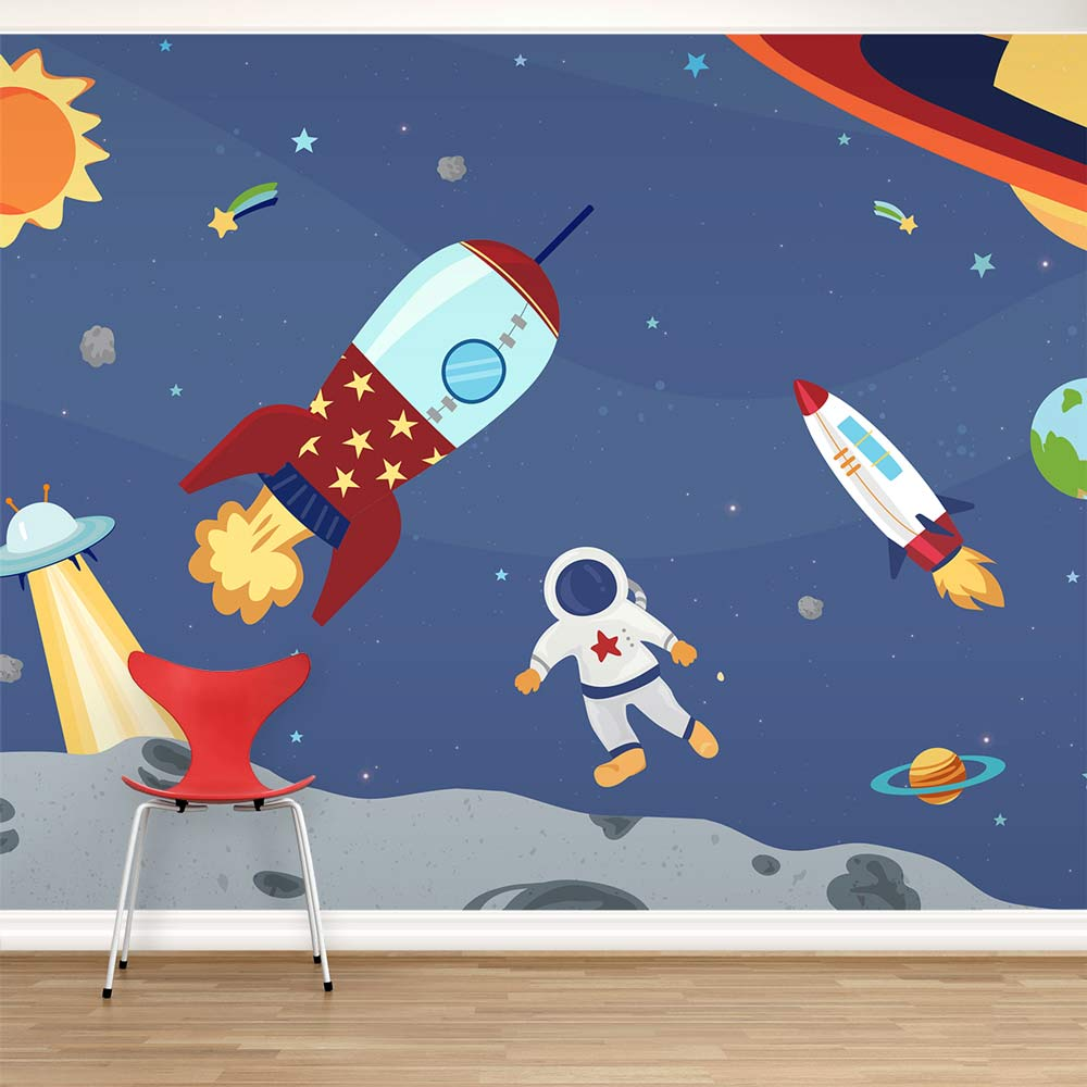 Space Rocket Wallpaper Outer Space Wall Mural For Kids