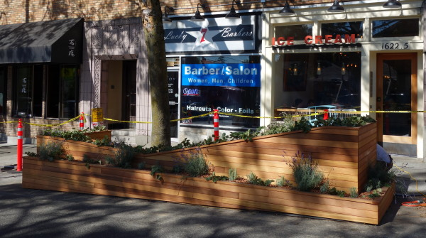 Parklet under construction in front of Molly Moons, 2014.