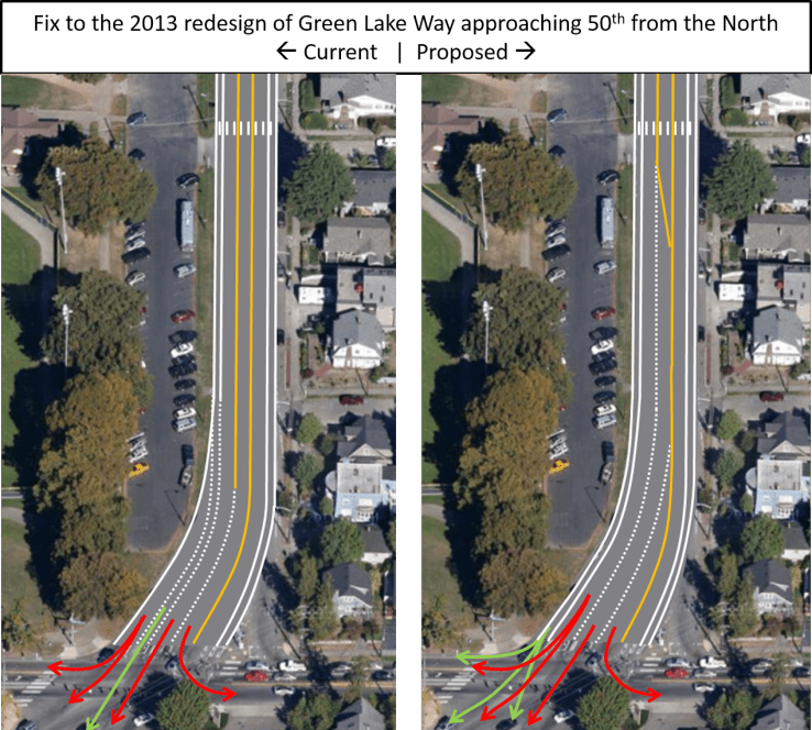 Green Lake Way and 50th Changes to Paint