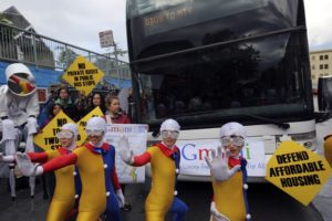 San Francisco demonstrators block a Google commuter bus in April 2014. (Reuters/Robert Galbraith )