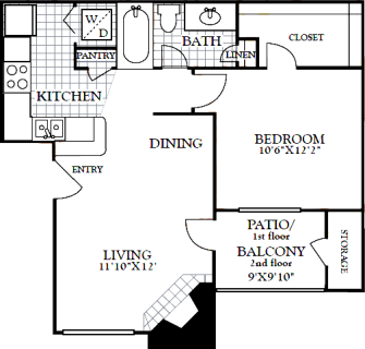 1 Bed / 1 Bath / 616 sq ft / Deposit: from $100 / Rent: Starting at $900