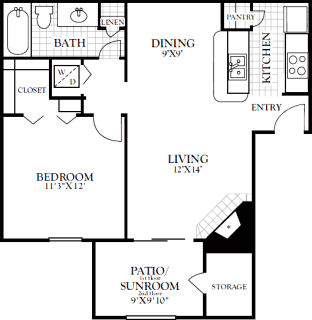 1 Bed / 1 Bath / 748 sq ft / Deposit: from $100 / Rent: $880 to $920
