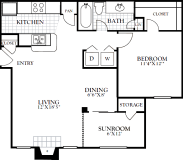 1 Bed / 1 Bath / 822 sq ft / Deposit: from $200 / Rent: $885 to $920