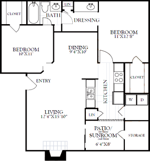 2 Bed / 1½ Bath / 974 sq ft / Deposit: from $200 / Starting at $1200