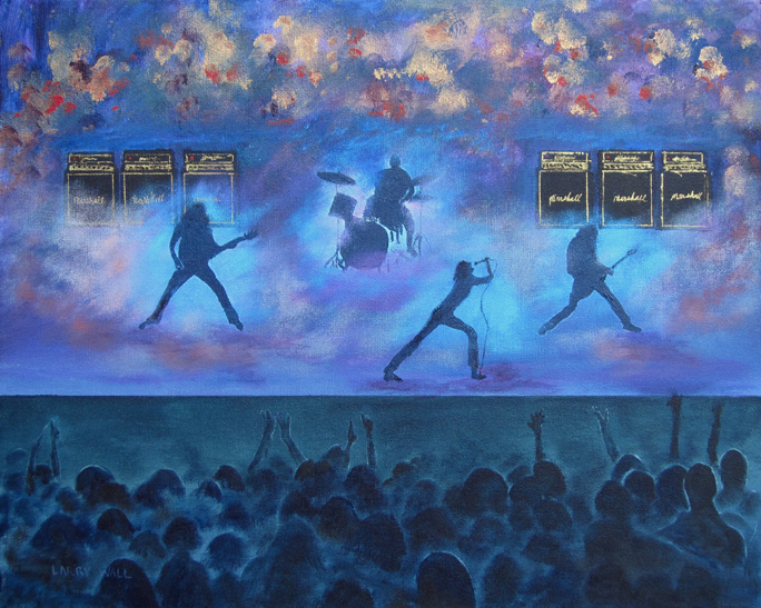 """ROCK CONCERT 16"""" X 20"""" Acrylic painting by Larry Wall"""