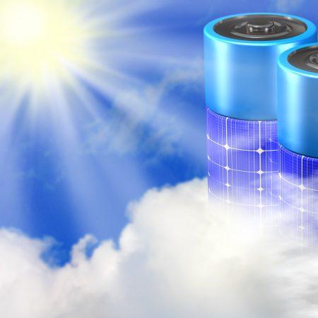 Solar Batterie Wolken Sonne