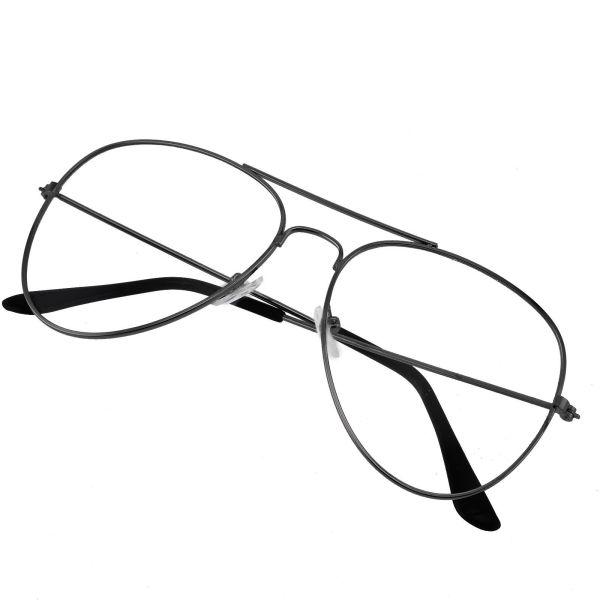 Retro Aviator Glasses - CLEAR LENS - Rose Gold BLACK