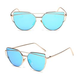Oversized Female Sunglasses - Mirrored - All Silver light blue gold